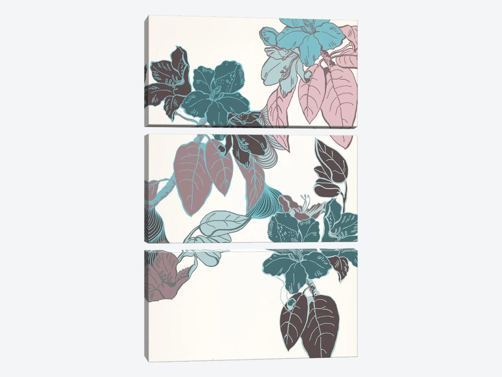 Flowers & Leaves (Vinous&Green) II by 5by5collective 3-piece Art Print