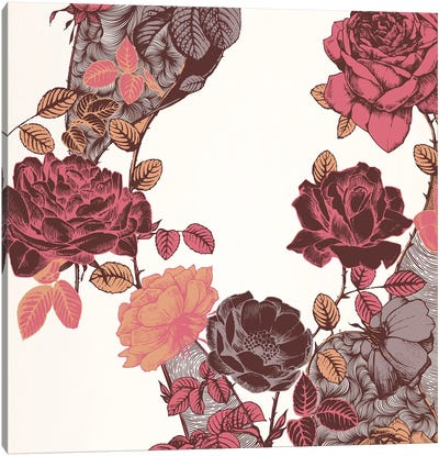 Roses & Leaves (Red) Canvas Art Print