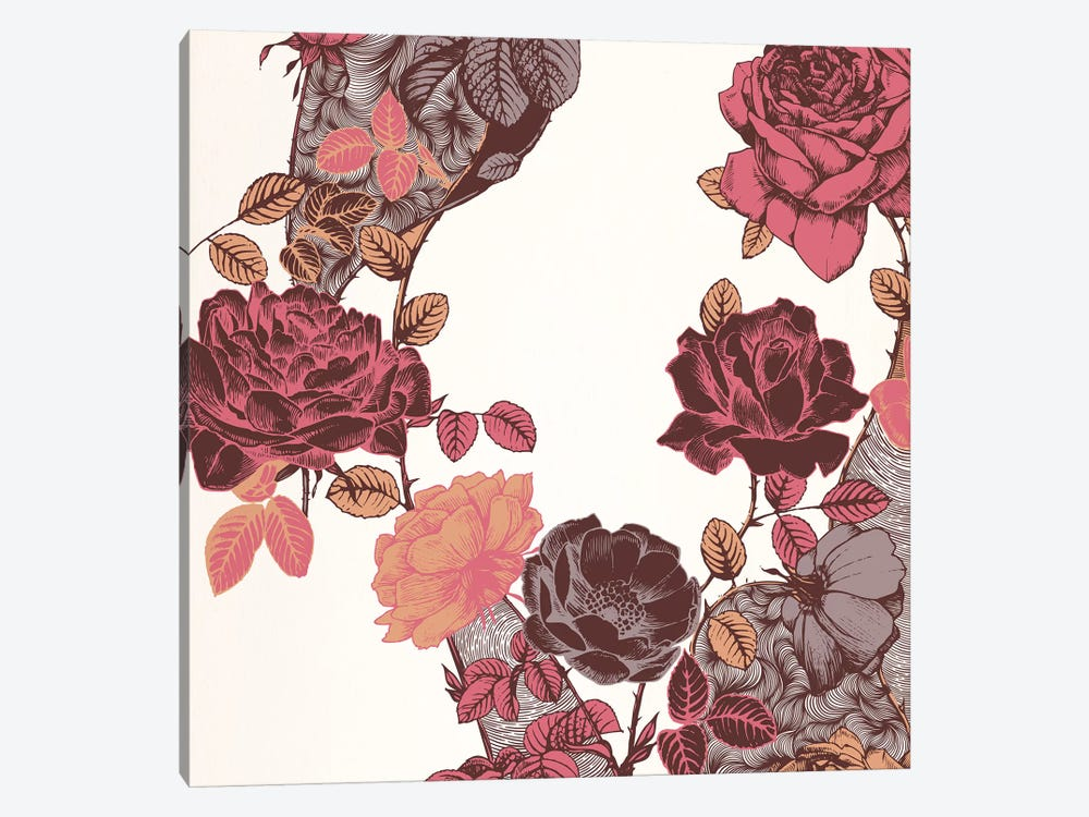 Roses & Leaves (Red) by 5by5collective 1-piece Art Print