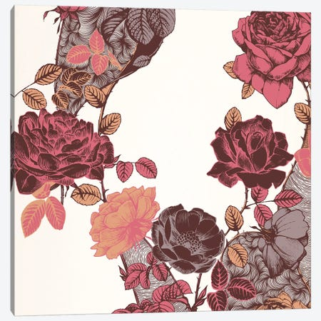 Roses & Leaves (Red) Canvas Print #FLPN3} by 5by5collective Canvas Print