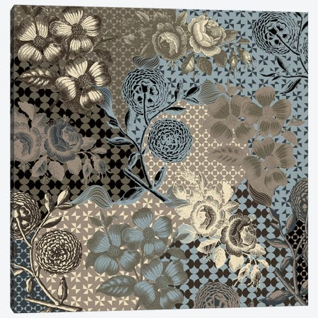 Flower Pattern (Brown&Blue) Canvas Print #FLPN41} by 5by5collective Canvas Wall Art