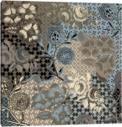 Flower Pattern (Brown&Blue) Canvas Art Print