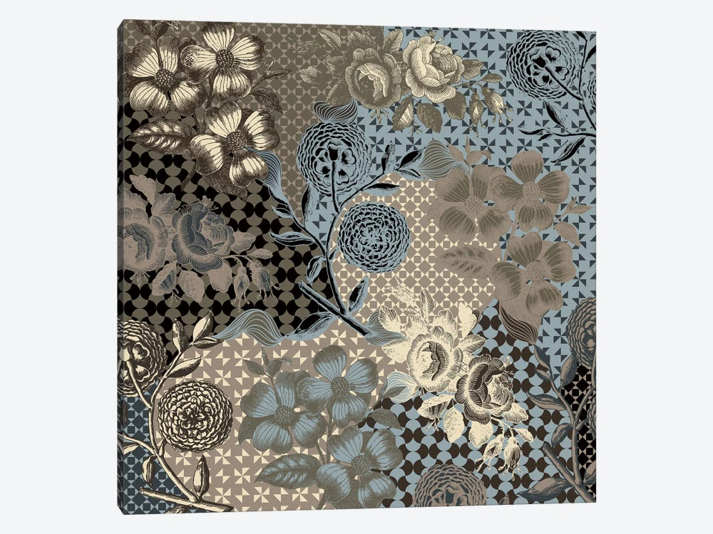 Flower Pattern (Brown&Blue) by 5by5collective 1-piece Canvas Art