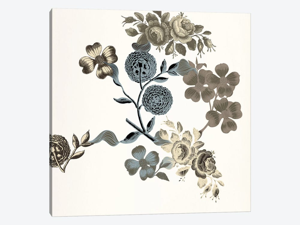 Floral Composition (Tri-Color) by 5by5collective 1-piece Canvas Artwork