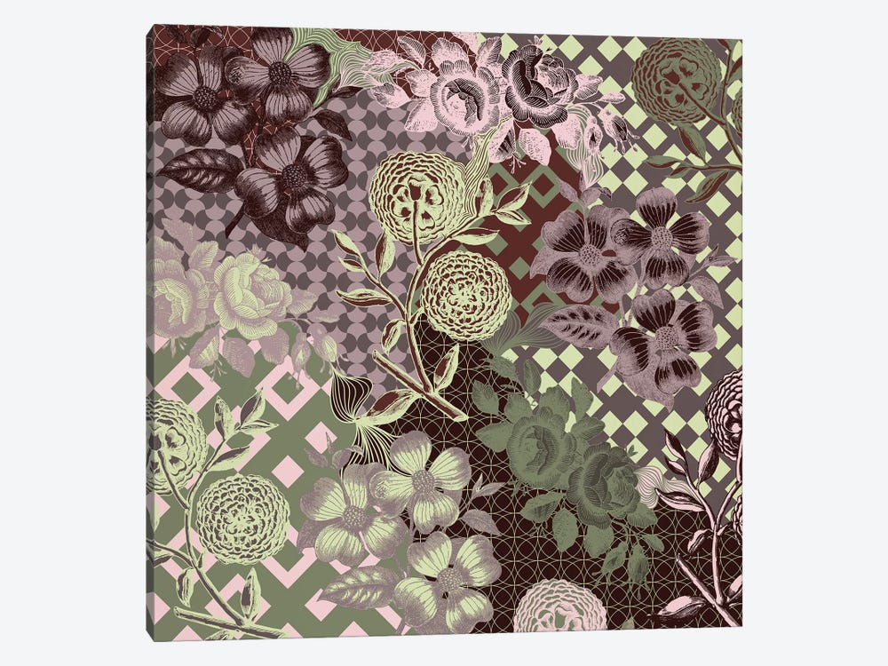 Flowers & Ornaments (Vinous&Green) by 5by5collective 1-piece Canvas Wall Art