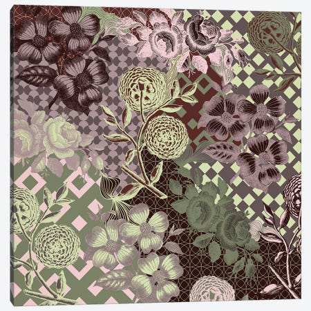 Flowers & Ornaments (Vinous&Green) Canvas Print #FLPN45} by 5by5collective Art Print