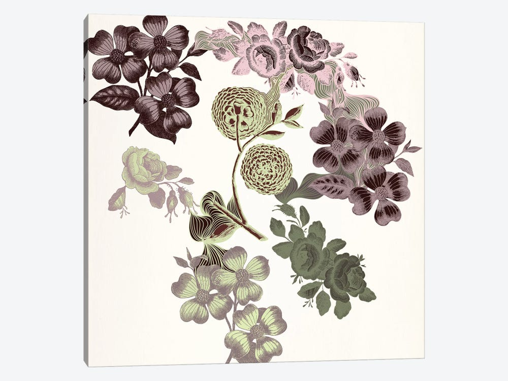 Floral Variety (Tri-Color) by 5by5collective 1-piece Canvas Wall Art