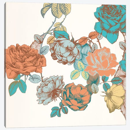 Flowers & Leaves Canvas Print #FLPN51} by 5by5collective Canvas Art Print