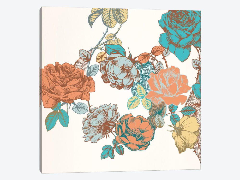Flowers & Leaves by 5by5collective 1-piece Canvas Art Print