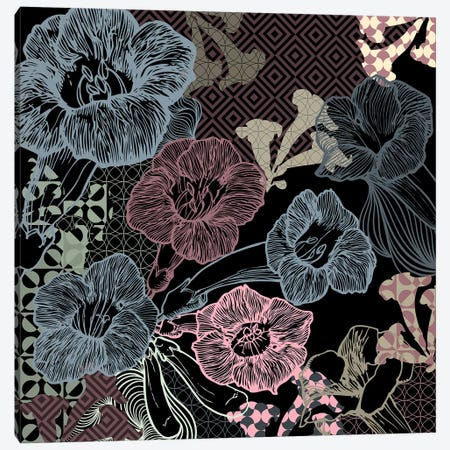Flower Pattern (Dark Shades) Canvas Print #FLPN53} by 5by5collective Canvas Art Print