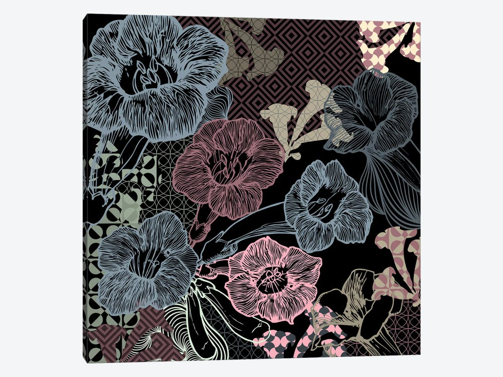 Flower Pattern (Dark Shades) by 5by5collective 1-piece Canvas Art Print
