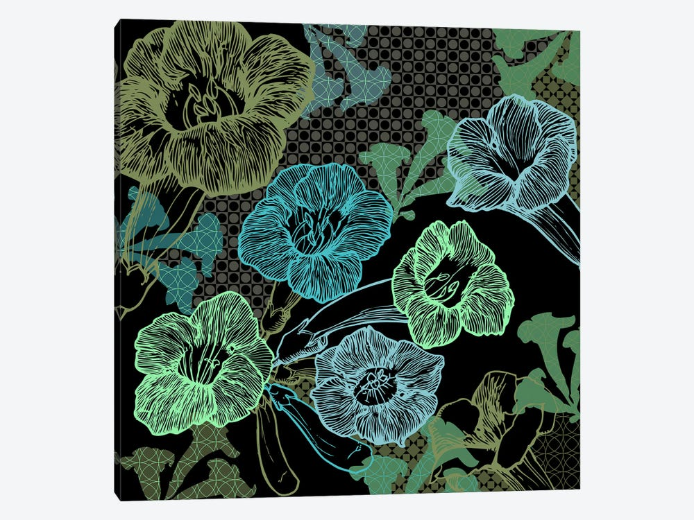 Flower Pattern (Green) by 5by5collective 1-piece Canvas Art Print