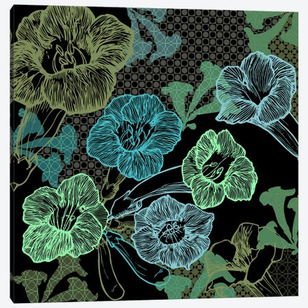 Flower Pattern (Green) Canvas Print #FLPN5} by 5by5collective Canvas Artwork