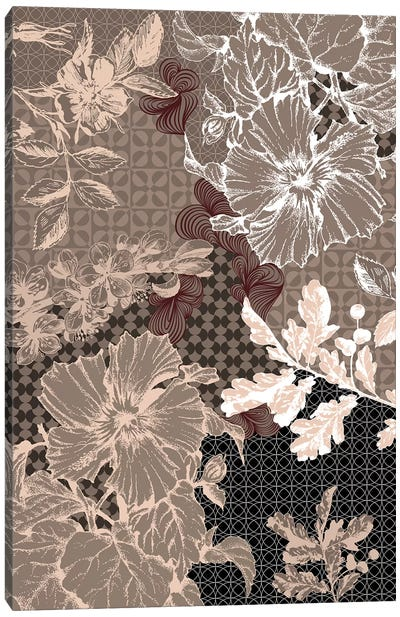 Flower Patterns (Brown) Canvas Art Print