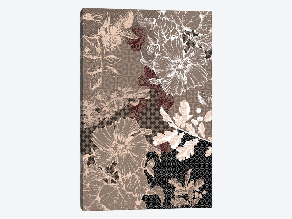 Flower Patterns (Brown) by 5by5collective 1-piece Canvas Artwork