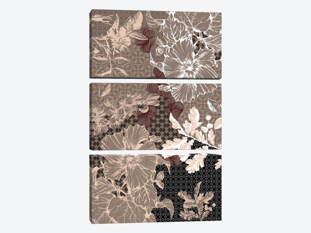 Flower Patterns (Brown) by 5by5collective 3-piece Canvas Artwork