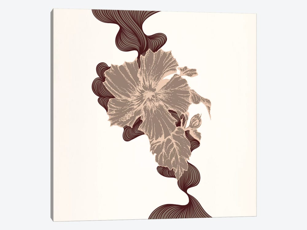 Poppy & Leaves (Brown) by 5by5collective 1-piece Art Print
