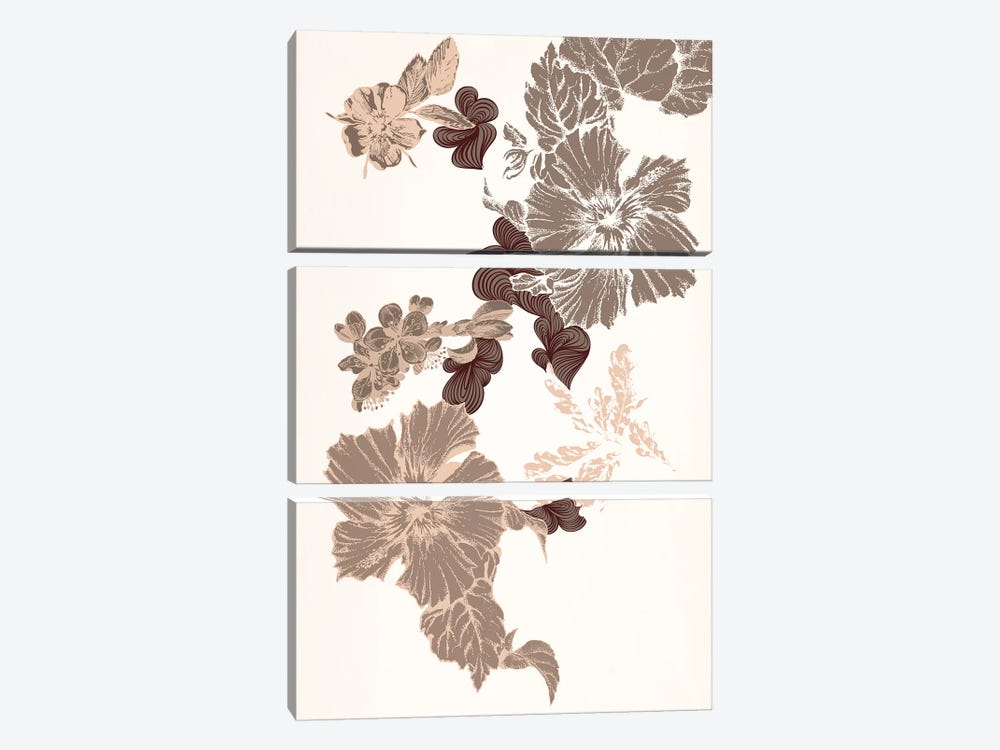 Flowers (Brown) by 5by5collective 3-piece Canvas Art