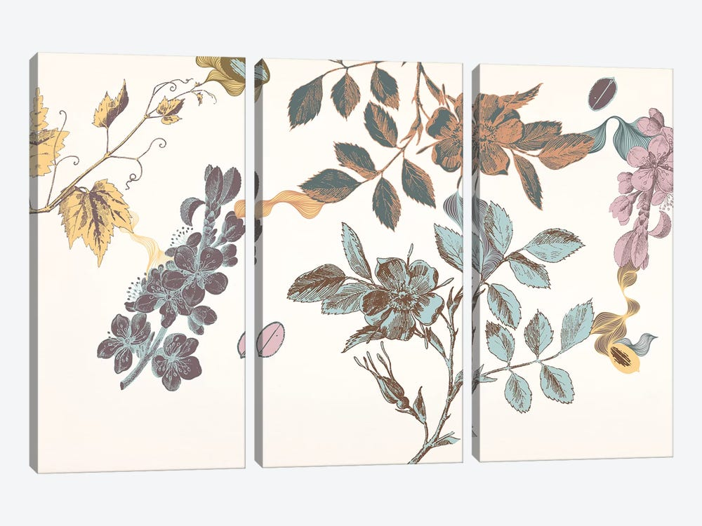 Sprigs&Flowers (Multi-Color) by 5by5collective 3-piece Canvas Print