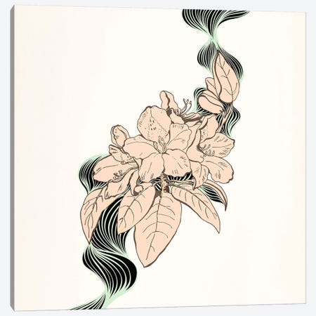 Flower & Leaves (Beige) Canvas Print #FLPN74} by 5by5collective Canvas Art