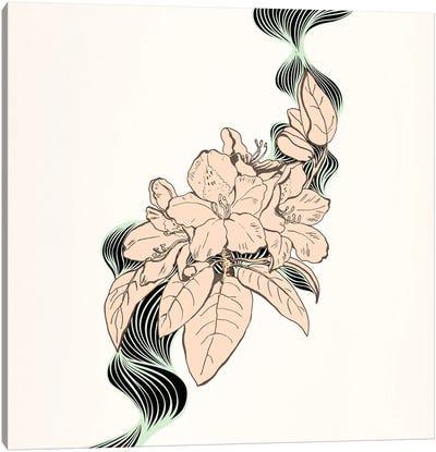 Flower & Leaves (Beige) Canvas Print #FLPN74