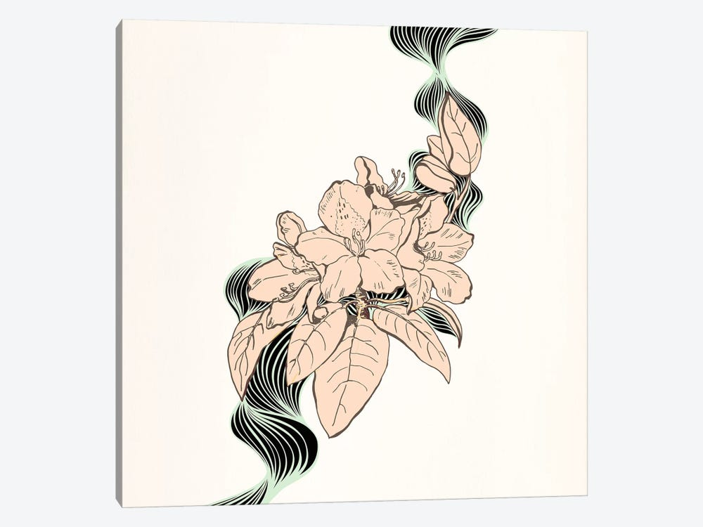 Flower & Leaves (Beige) by 5by5collective 1-piece Canvas Art