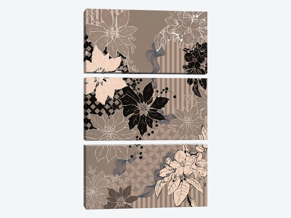 Floral Composition IV by 5by5collective 3-piece Canvas Art Print