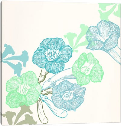 Violets & Leaves (Green&Blue) Canvas Art Print
