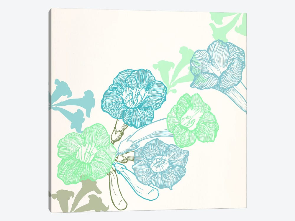 Violets & Leaves (Green&Blue) by 5by5collective 1-piece Art Print