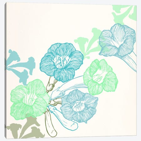 Violets & Leaves (Green&Blue) Canvas Print #FLPN7} by 5by5collective Canvas Art