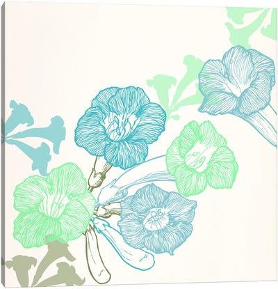 Violets & Leaves (Green&Blue) Canvas Art Print
