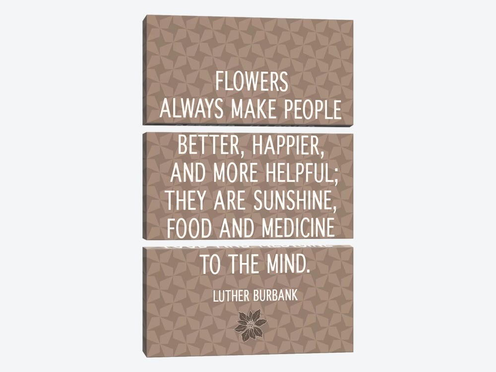 Flowers Are Happiness by 5by5collective 3-piece Canvas Art Print