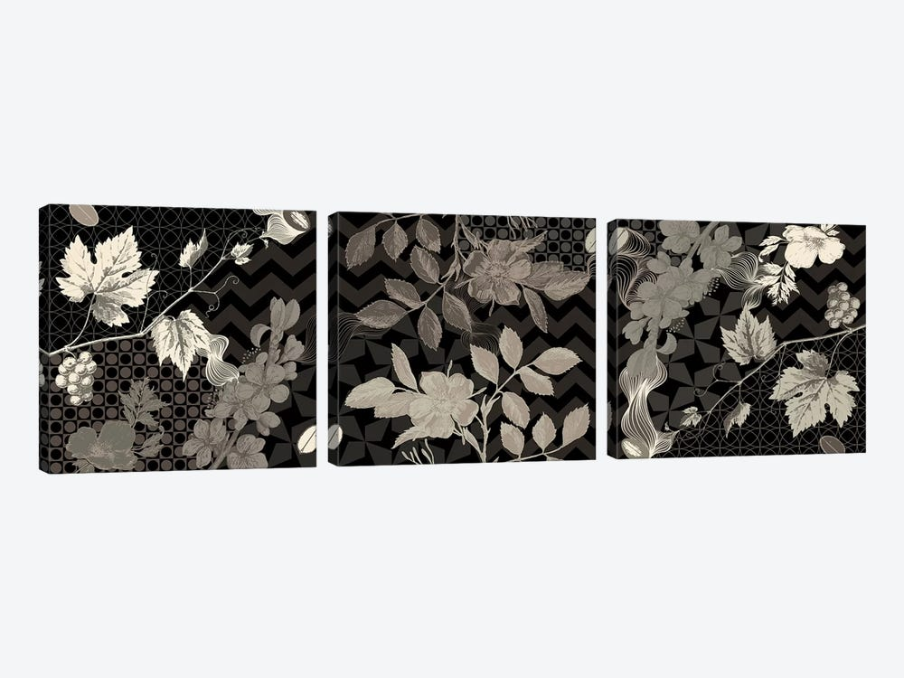Flowers & Ornaments (Black&White) by 5by5collective 3-piece Canvas Artwork