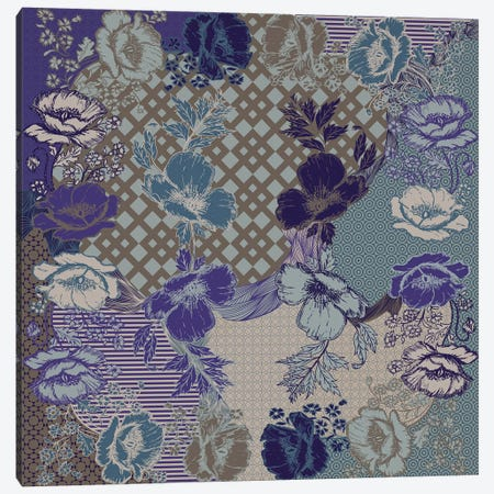 Flower Patterns (Violet, Blue&Brown) Canvas Print #FLPN85} by 5by5collective Canvas Print