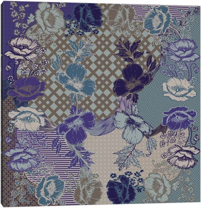 Flower Patterns (Violet, Blue&Brown) Canvas Art Print