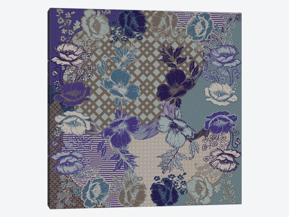 Flower Patterns (Violet, Blue&Brown) by 5by5collective 1-piece Canvas Wall Art