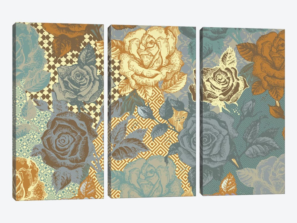 Roses & Ornaments by 5by5collective 3-piece Canvas Art Print