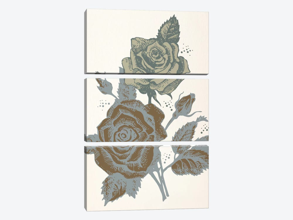 Roses (Brown&Vinous) by 5by5collective 3-piece Art Print