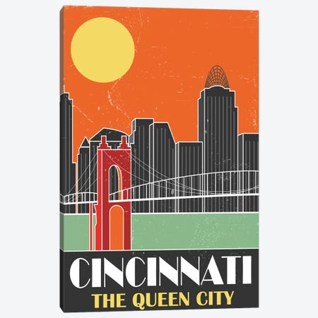 Cincinnati, Orange Canvas Print #FLY10} by Fly Graphics Canvas Print