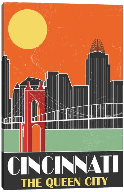 Cincinnati, Orange Canvas Art Print