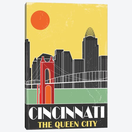 Cincinnati, Yellow Canvas Print #FLY12} by Fly Graphics Canvas Art Print