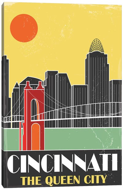 Cincinnati, Yellow Canvas Art Print