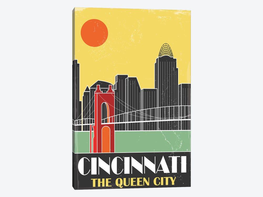 Cincinnati, Yellow by Fly Graphics 1-piece Canvas Art Print