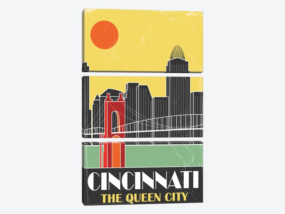 Cincinnati, Yellow by Fly Graphics 3-piece Canvas Art Print