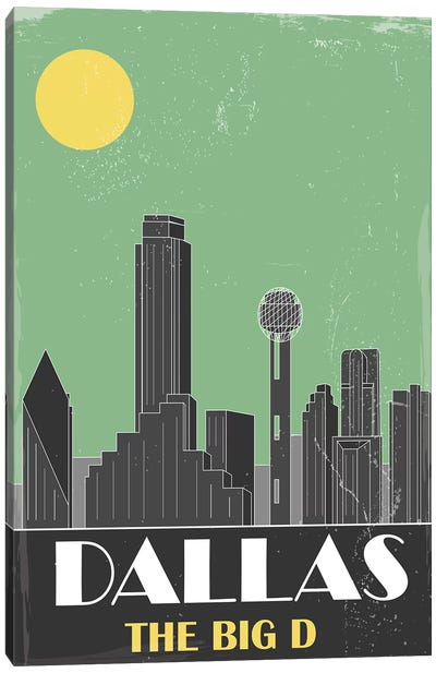Dallas, Green Canvas Art Print