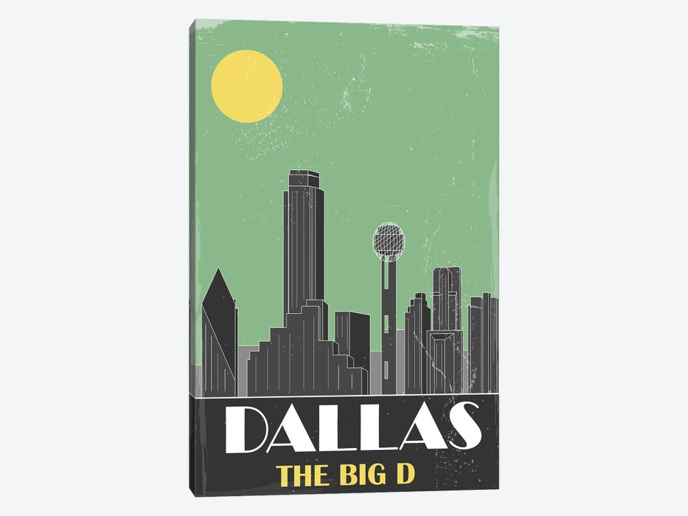 Dallas, Green by Fly Graphics 1-piece Canvas Art