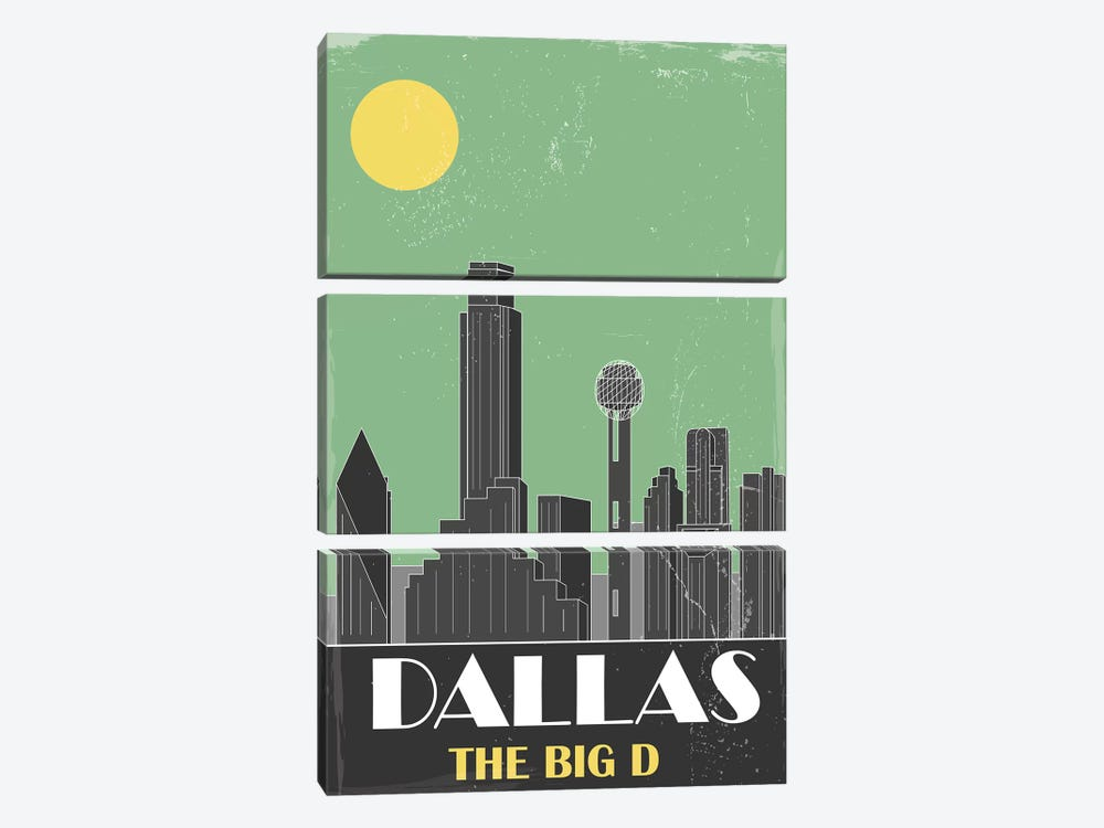 Dallas, Green by Fly Graphics 3-piece Canvas Art