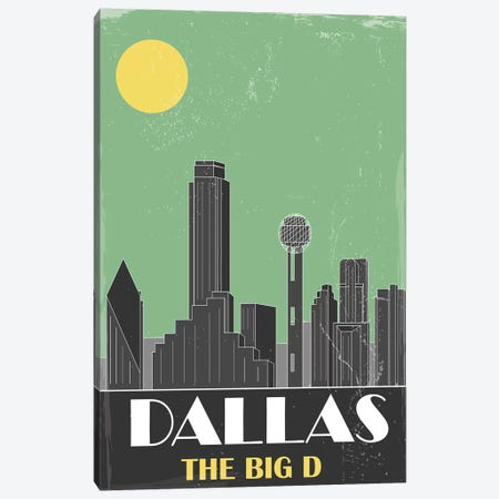 Dallas, Green Canvas Print #FLY13} by Fly Graphics Canvas Print