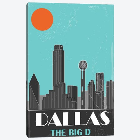 Dallas, Sky Blue Canvas Print #FLY14} by Fly Graphics Canvas Wall Art