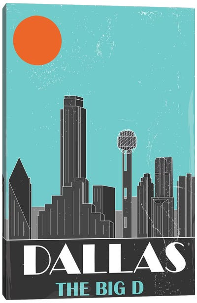 Dallas, Sky Blue Canvas Art Print
